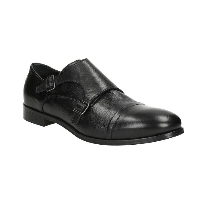 Černé kožené Monk Shoes bata, černá, 824-6730 - 13