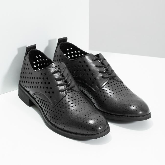 Dámské polobotky s výraznou perforací bata, černá, 521-6610 - 26