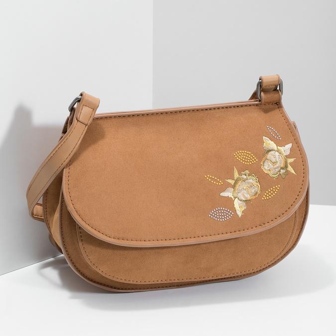 Crossbody kabelka s výšivkou bata, hnědá, 969-4686 - 17