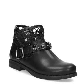 Černé kozačky s krajkou bata, černá, 591-6628 - 13