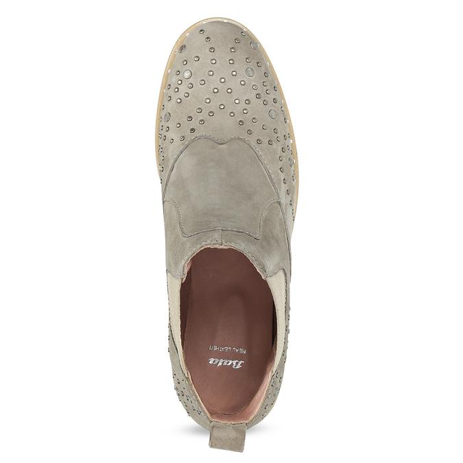 Kožené kotníčkové boty s kovovou aplikací bata, béžová, 596-2690 - 17