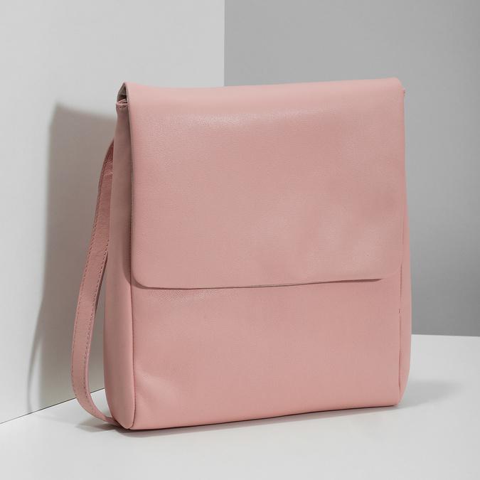 Růžová kožená Crossbody taška vagabond, růžová, 966-8064 - 17