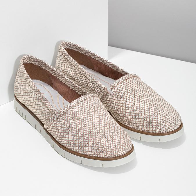 Dámské kožené Slip-on boty na výrazné podešvi flexible, 536-5603 - 26