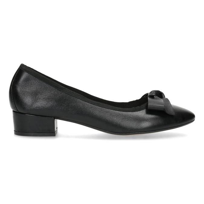 Kožené baleríny s mašlí černé bata, černá, 524-6420 - 19
