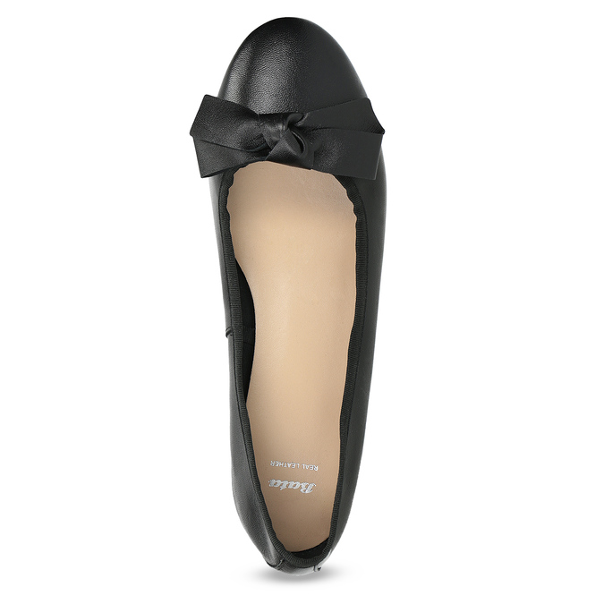 Kožené baleríny s mašlí černé bata, černá, 524-6420 - 17