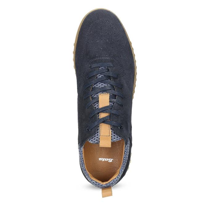Pánské tenisky z broušené kůže modré bata, 843-9634 - 17