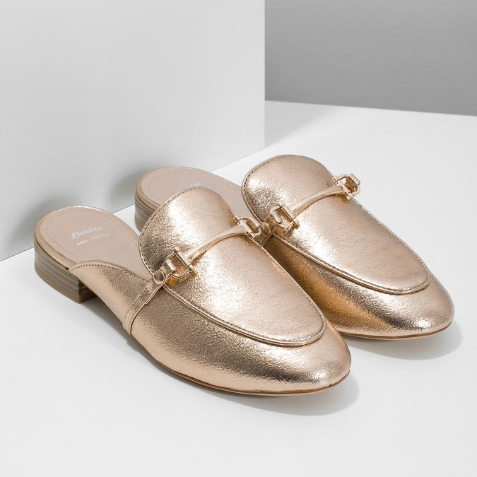 Dámské zlaté nazouváky s přezkou bata, zlatá, 511-8609 - 26
