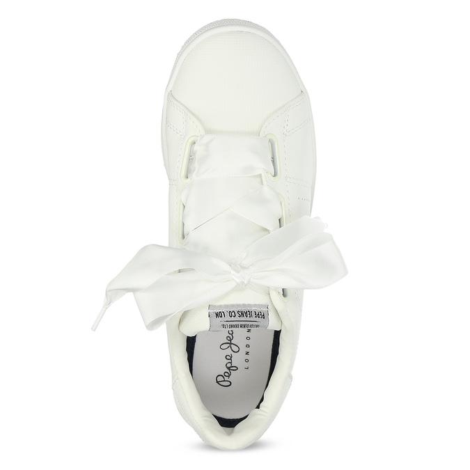 Bílé tenisky se saténovou mašlí pepe-jeans, bílá, 541-1076 - 17