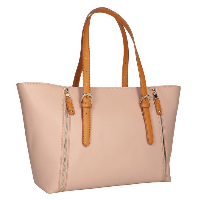 Růžová kabelka s hnědými uchy bata, růžová, 961-5840 - 13