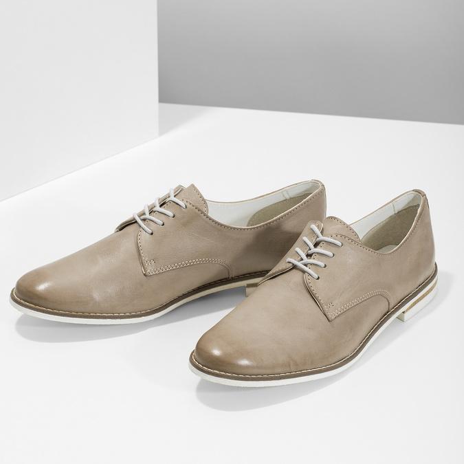 Kožené dámské polobotky bata, béžová, 526-8650 - 16