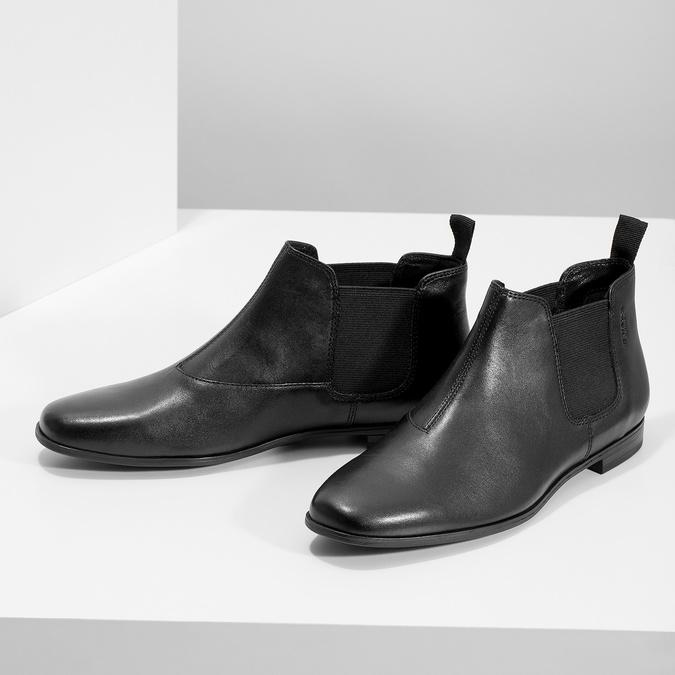 Černé kožené Chelsea Boots vagabond, černá, 514-6097 - 16