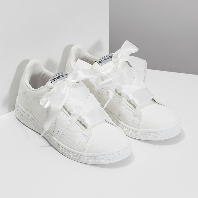 Bílé tenisky se saténovou mašlí pepe-jeans, bílá, 541-1076 - 26