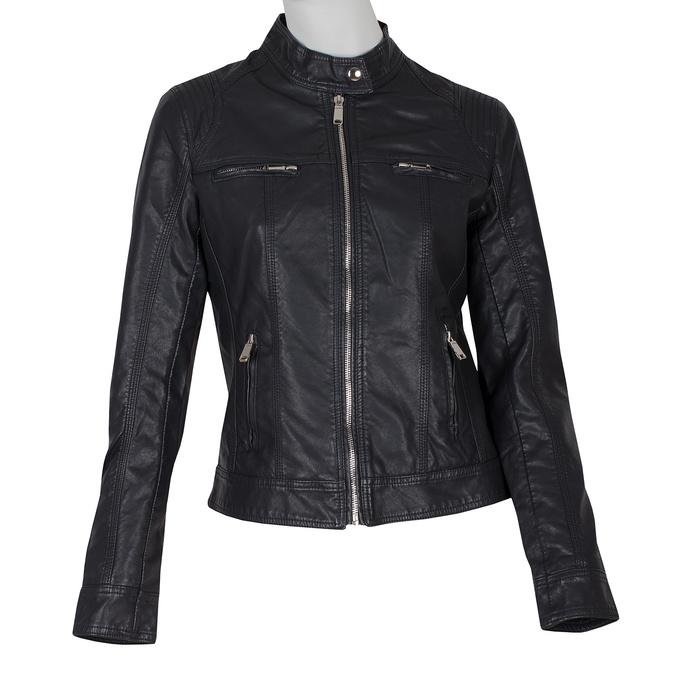 Černá koženková bunda dámská bata, černá, 971-6206 - 13