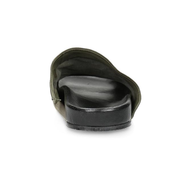 Kožené pánské nazouváky s perforací a-s-98, khaki, 876-7012 - 15