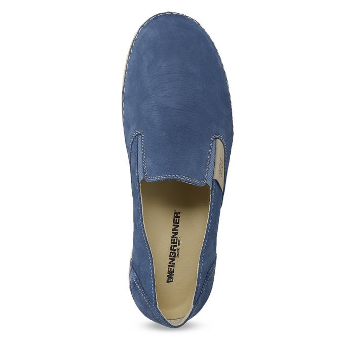Dámské kožené Slip-on modré weinbrenner, modrá, 536-9606 - 17