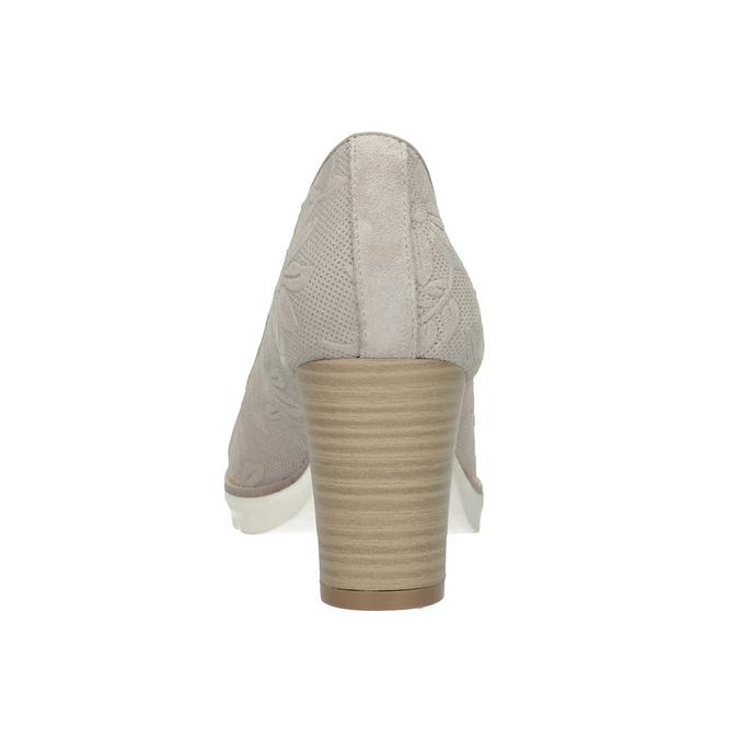 Dámské kožené lodičky s reliéfrem pillow-padding, béžová, 726-2650 - 16