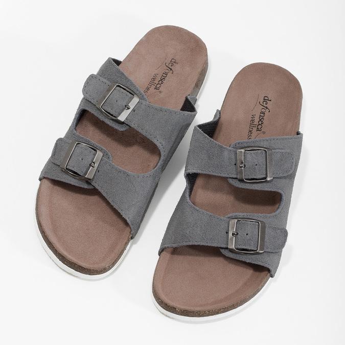 Pánská domácí obuv de-fonseca, šedá, 873-2610 - 16