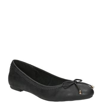 Černé dámské baleríny s mašličkou bata, černá, 521-6611 - 13