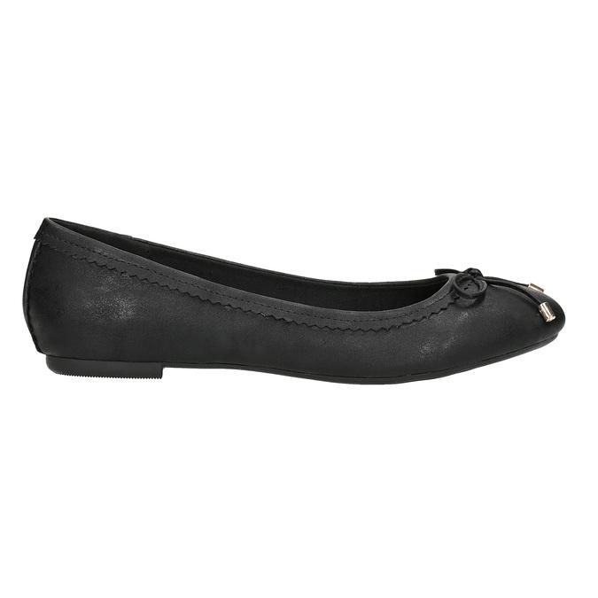 Černé dámské baleríny s mašličkou bata, černá, 521-6611 - 16