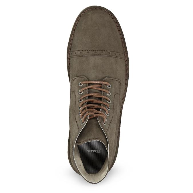 Kotníčková obuv z broušené kůže bata, khaki, 823-7629 - 17
