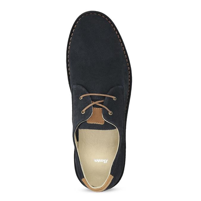 Pánské kožené polobotky s ležérní podešví bata, modrá, 823-9631 - 17