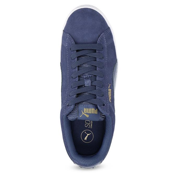 Kožené tenisky na široké podešvi puma, modrá, 503-9923 - 17