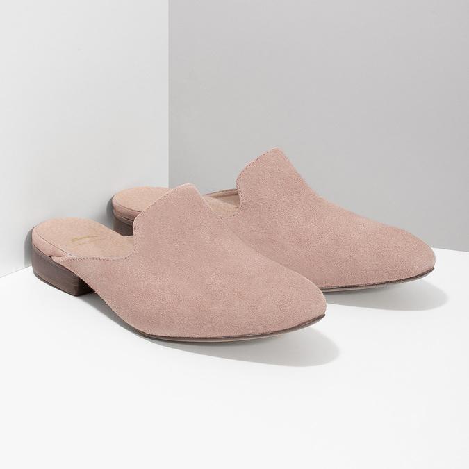 Kožené mokasíny s volnou patou bata, růžová, 516-5620 - 26