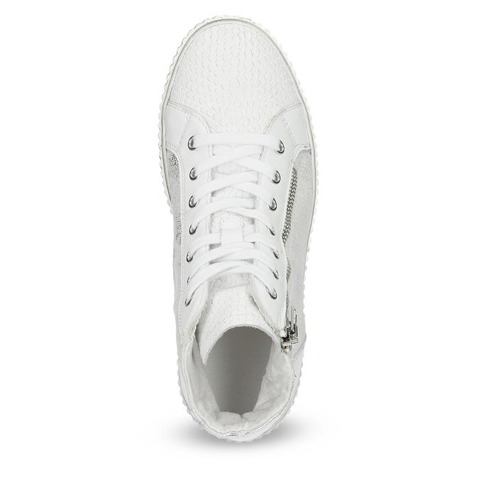 Kožené kotníčkové tenisky s výraznou podešví bata, bílá, 596-1692 - 17