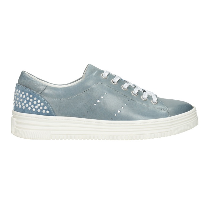 Dámské kožené tenisky s perličkami bata, modrá, 546-9606 - 26