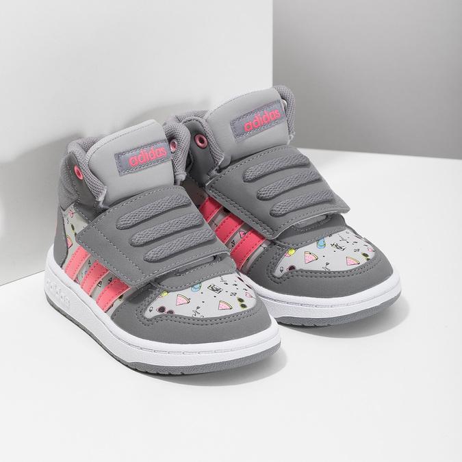 Šedé kotníčkové tenisky s potiskem adidas, šedá, 101-2125 - 26