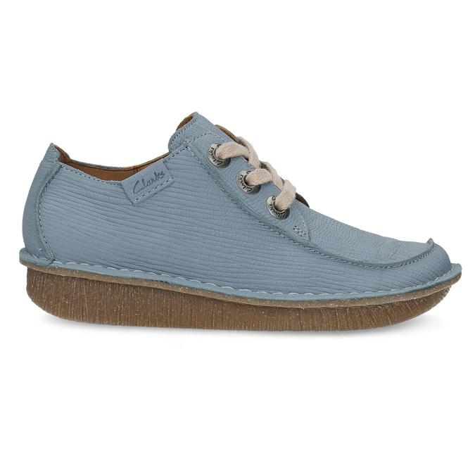 Modré kožené polobotky v ležérním stylu clarks, modrá, 626-9071 - 19