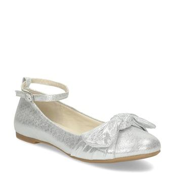 Stříbrné dívčí baleríny s mašlí mini-b, stříbrná, 329-1227 - 13