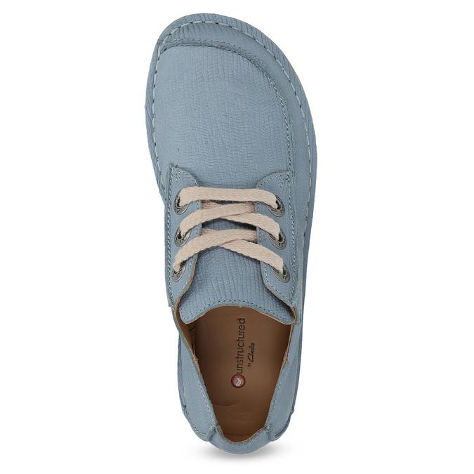 Modré kožené polobotky v ležérním stylu clarks, modrá, 626-9071 - 17