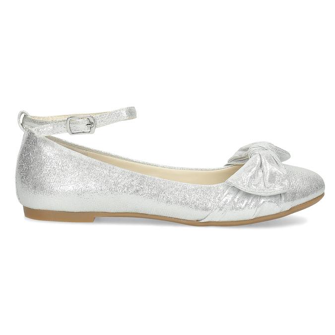 Stříbrné dívčí baleríny s mašlí mini-b, stříbrná, 329-1227 - 19