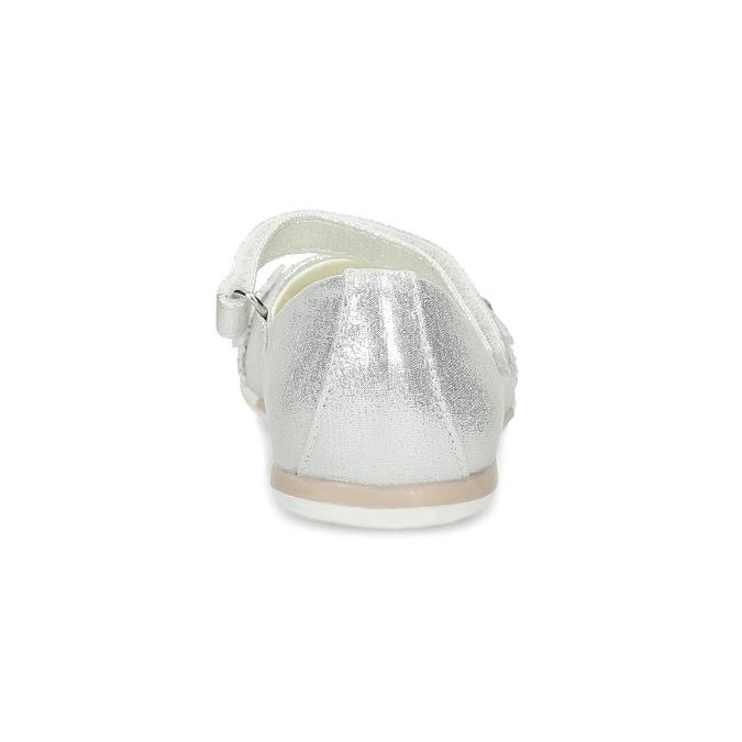 Stříbrné dívčí baleríny s kytičkami mini-b, stříbrná, 229-2106 - 15