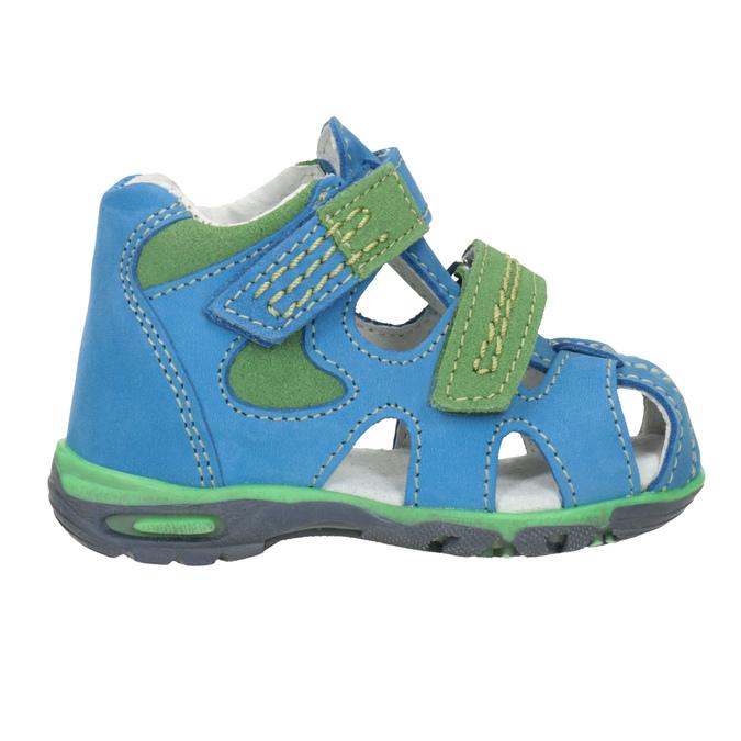 Dětské modré kožené sandály bubblegummers, modrá, 166-9602 - 26