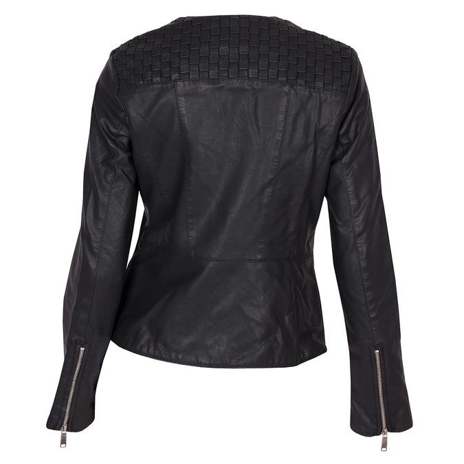 Koženková dámská bunda bez límce bata, černá, 971-6207 - 26