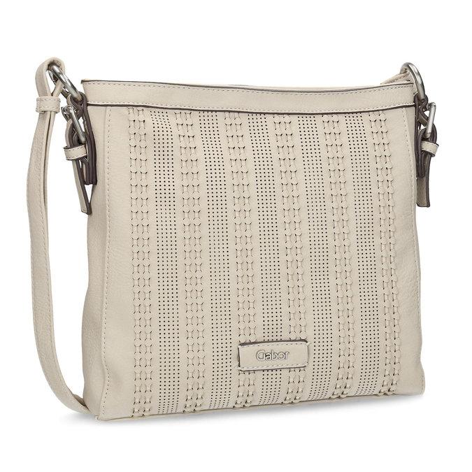Crossbody kabelka s perforovaným vzorem gabor-bags, béžová, 961-8014 - 13