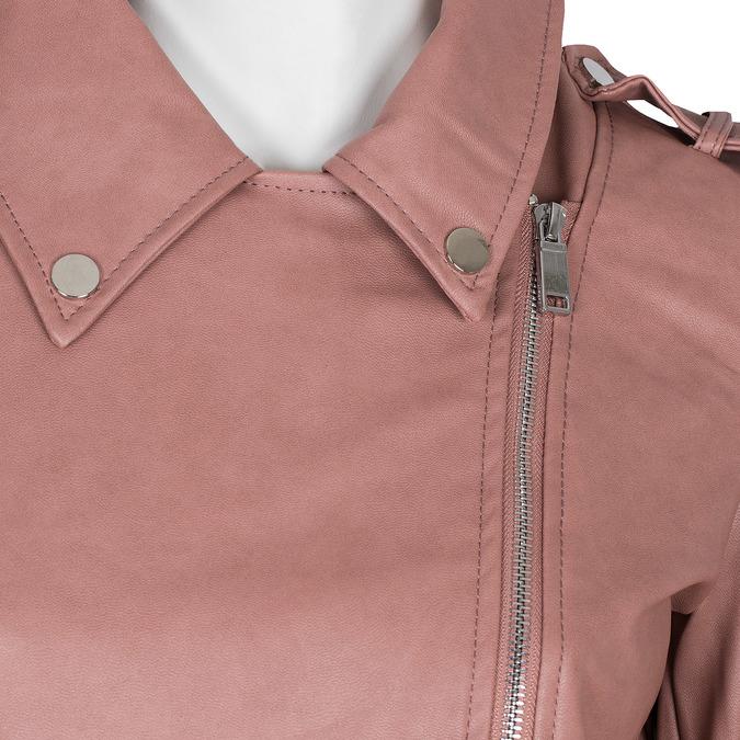 Růžová koženková bunda s límcem bata, růžová, 971-5198 - 16