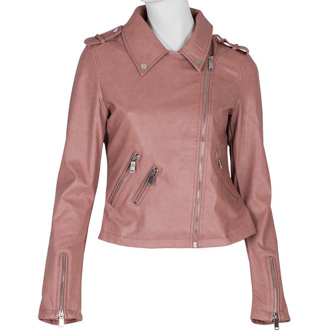 Růžová koženková bunda s límcem bata, růžová, 971-5198 - 13