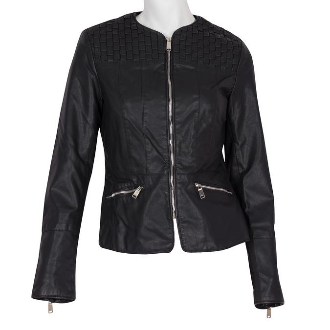 Koženková dámská bunda bez límce bata, černá, 971-6207 - 13