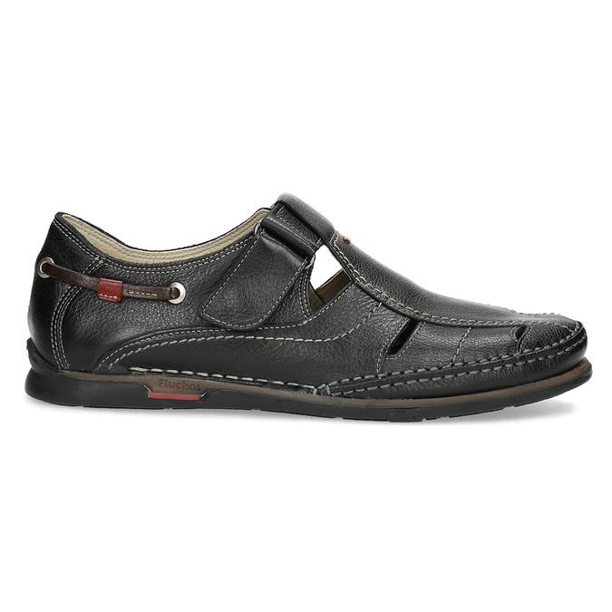 Kožené sandály s prošíváním fluchos, černá, 864-6605 - 19