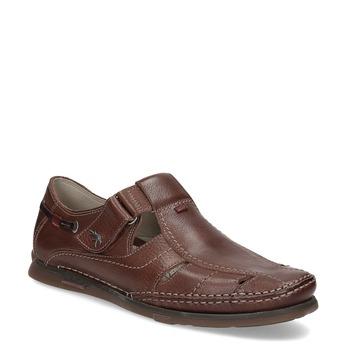 Kožené sandály na suchý zip fluchos, hnědá, 864-4605 - 13