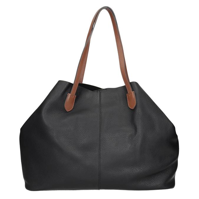 Černá kožená kabelka s hnědými uchy bata, černá, 964-6293 - 26