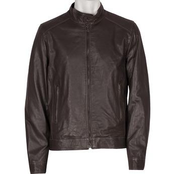 Kožená pánská bunda tmavě hnědá bata, hnědá, 974-4134 - 13