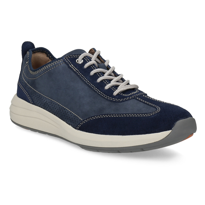 Pánské tenisky z modré broušené kůže clarks, modrá, 826-9027 - 13