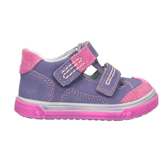 Dětské kožené boty na suché zipy bubblegummers, fialová, 126-9601 - 26