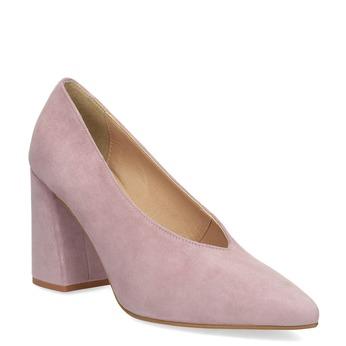 Kožené lodičky na asymetrickém podpatku bata, růžová, 723-5608 - 13