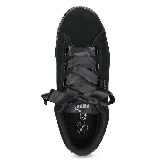 Černé kožené tenisky na flatformě s mašlí puma, černá, 503-6737 - 17