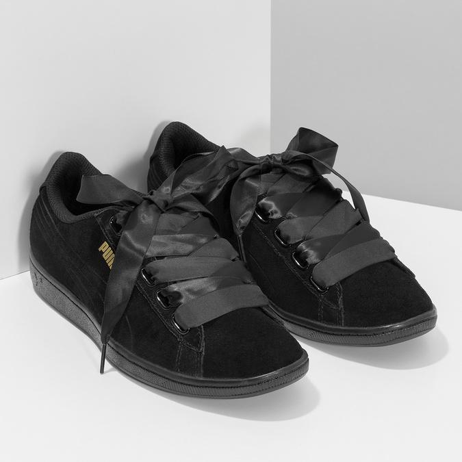 Kožené tenisky s mašli černé puma, černá, 503-6738 - 26